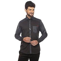 Apris Mens F/Slv Satin Shirt-BLACK (S-3208) (2XL)