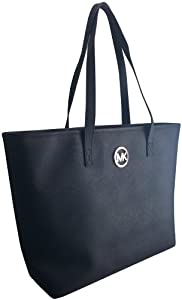 Michael Kors Jet Set Genuine Leather Medium Travel Tote Black