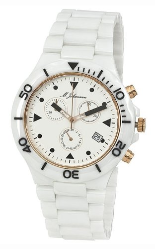 M. Johansson MakanaWRg Men's Quartz White Ceramic Chronograph ISA SWISS Cal.8172. 202 Wrist Watch