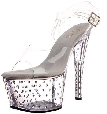 Pleaser Women's Stardust-708 Platform Sandal,Clear,5 M US
