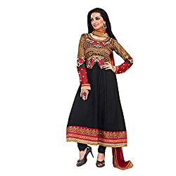 Idha Black Semi-Stitched Embroidered Salwar Suit For Women