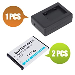 Battpit™ New 2x Digital Camera Battery + 1x Charger Replacement for Casio Exilim EX-Z70BE (800 mAh)