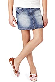 Cotton Rich Washed Look Denim Skirt