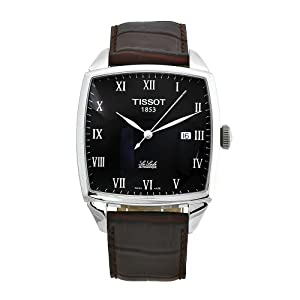 Tissot Men's T0067071605300 Le Locle Brown Leather Automatic Black Dial Watch