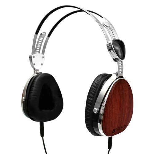 Tribeca Aviator-Style Natural Sound Headphones With In-Line Microphone - Genuine Bubinga Wood - For Iphone, Ipod Touch, Ipad, Samsung Galaxy, All Smartphones And Tablets