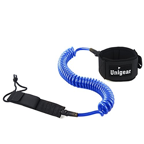 Premium 10' SUP Leash, Paddle Leash Coiled Swivel Ankle Cuff for Standup Paddle Boarding and Surfboarding Surfing (Blue and White)