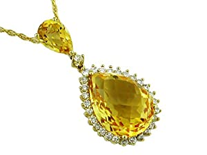Ladies Diamond & Citrine Necklace in 14K Yellow Gold (TCW 11.00).