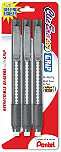 Pentel Clic Eraser Grip Retractable Eraser, Assorted Colors, 1 Pack of 3  (ZE21BP3-K6)