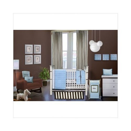 Quilted Circles Blue/Choc 6 pc Crib Set