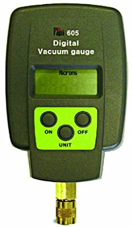 TPI 605 Single Input Digital Vacuum Gauge, 5 Digit LCD, +/-10 percent Accuracy, 1 micron Resolution, 12000 to 15 micron Range