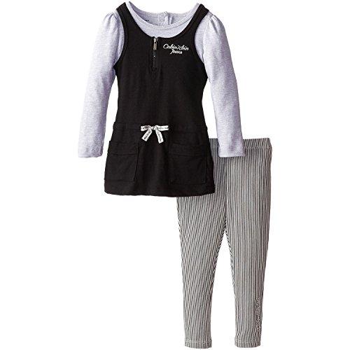 Calvin Klein Little Girls' Jersey Mock Twofer Tunic Set, Black/Oatmeal, 5 front-1049886