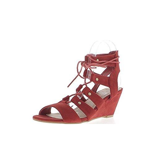 Red wedge Sandali con tacchi di 7cm guardare cinghie e lacci in camoscio - 39