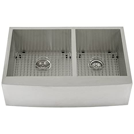 "Phoenix PH-4441 Zero Radius 33"" Apron Farmhouse Double-Bowl Curved Front 16-Gauge Stainless Steel Kitchen Sink with Stainless Steel Bottom Grids"
