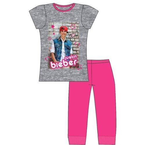 Childrens/Kids Girls Justin Bieber Short Sleeve Nightwear Pyjama Set
