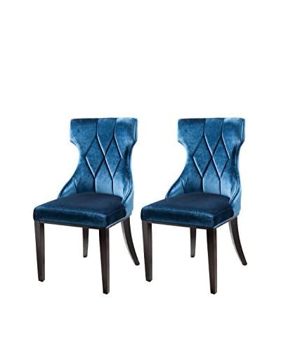 International Design Reine Set of 2 Dining Chairs, Cobalt Blue