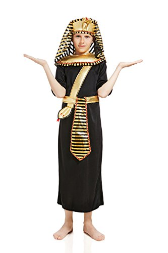 [Kids Boys King Pharaoh Tut Halloween Costume Egyptian God Dress Up & Role Play (3-6 years, black,] (Cheap Roman Costumes)
