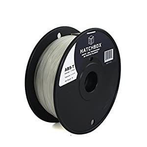 HATCHBOX 1.75mm Transparent White ABS 3D Printer Filament - 0.45kg Spool (1.0 lbs) - Dimensional Accuracy +/- 0.05mm from HATCHBOX 3D Printer