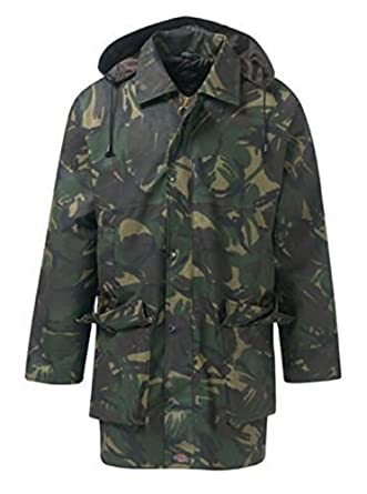 Dickies Countrywear New Mens Camouflage Waxed Cotton Padded Quilted Jacket Branded Coat With Hood Outdoor Countryside Oiled Fishing Hunting Shooting Farming Riding Check Lining (Camouflage Green X-Large)