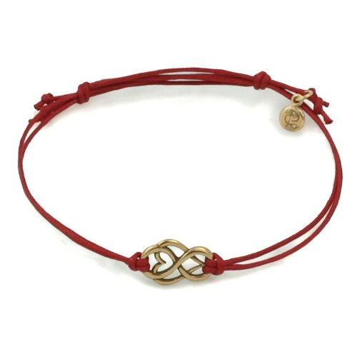 Golden Bronze Let Love Out Mini-Heart Corded Bracelet (Red)