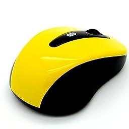 Doinshop Yellow Cordless USB Receiver Wireless 2.4G Optical Mouse Vista
