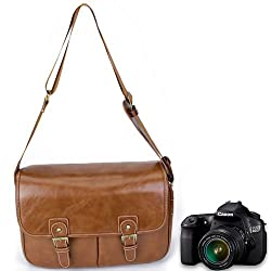 Generic Artificial Leather DSLR Camera Carrying Bag Case - Brown