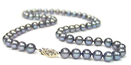 DaVonna Cultured Black Freshwater Pearl Necklace (6.5-7 mm/ 24 in)