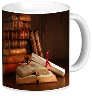 Rikki Knighttm Pile Of Old Books With Glasses On Desk Design 11 Oz Photo Quality Ceramic Coffee Mug Cup - Fda Approved - Dishwasher And Microwave Safe
