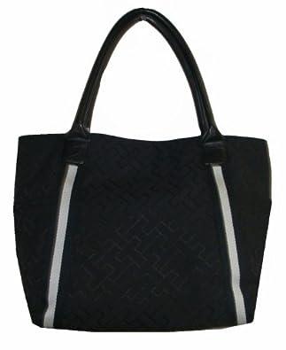 Tommy Hilfiger Women's Tote Handbag, Large Logo, Size Large, Black