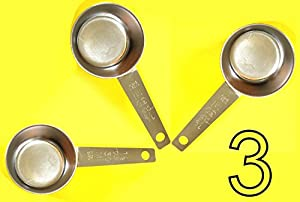 3 pc COFFEE MEASURING SCOOP 1/8 CUP Stainless Steel from AiDECHEF