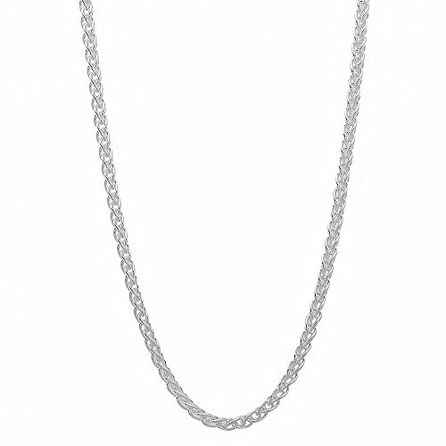 2Mm Men'S Real Solid 925 Sterling Silver Wheat Chain Necklace (24 Inches)