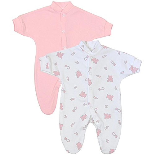Premature Early Baby Clothes Pack of 2 Sleepsuits / Babygros 0-1.5lb,3.5lb,5.5lb,7.5lb Pink Prem 3