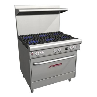 Southbend H4362D Ng - 36-In Range W/ 6-Non-Clog Wavy Burners, Electric Standard Oven, Ng