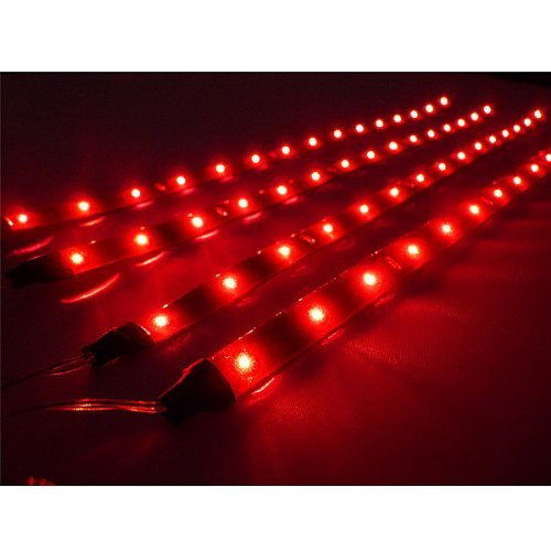 AGPtek® 4x 30cm LED Car Flexible Waterproof Light Strip Red