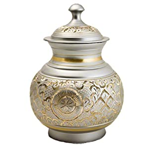 Elegant, High Quality Silver Engraved Pet Memorial Urn – Small