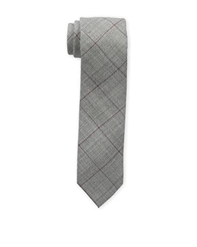 Bruno Piattelli Men's Slim Plaid Tie, Burgundy