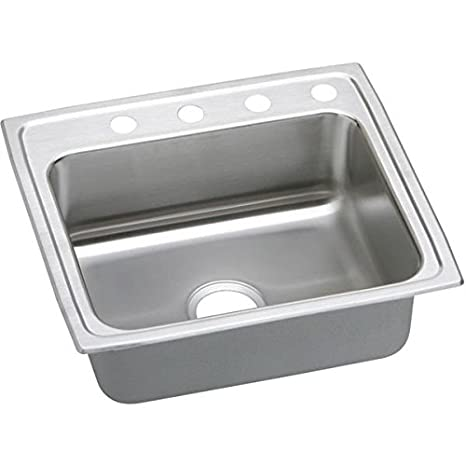 Elkao|#Elkay LRADQ252155MR2 Elkay 18 Gauge Stainless Steel 25 Inch x 21.25 Inch x 5.Inch single Bowl Top Mount Quick-Clip Kitchen Sink, 2 Faucet Holes (Middle & Right),