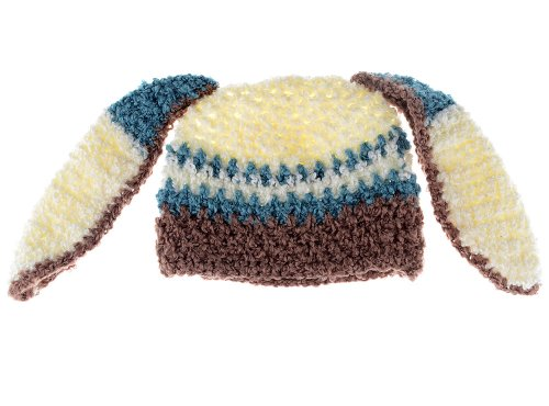 Kids' Beanie: Hand Crocheted Bunny Ears Hat Brown & Blue, 3-12 Months (39Cm) front-325842