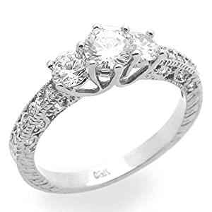 Little Treasures 14 ct White Gold Engagement Ring 0.8ctw CZ Cubic Zirconia Three Stone Solitaire Ring