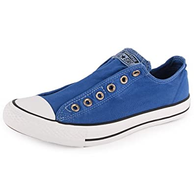 Converse Chuck Taylor Washed Slip 142350F Unisex Slip On Canvas Trainers Blue - 12