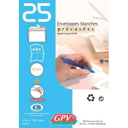 Paquet de 25 enveloppes blanches auto-adhésives 90 grammes GPV format 114x162mm référence 21301