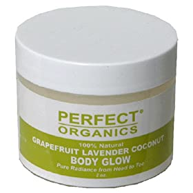 Perfect Organics Body Glow, Grapefruit Lavender Coconut, 2-Ounce Jar
