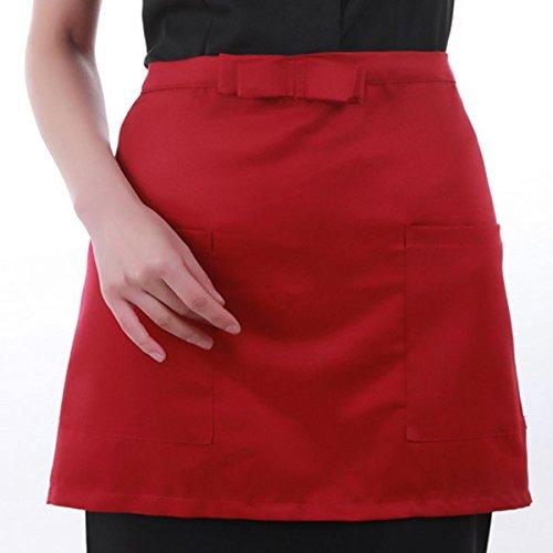 Bleulover Coton courte demi Tablier à la taille Accueil Tabliers de cuisine avec des poches rouges