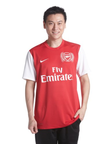 Nike Arsenal Home Replica Mens Short Sleeve Jersey - L, Red (Artillery Red/Football White)
