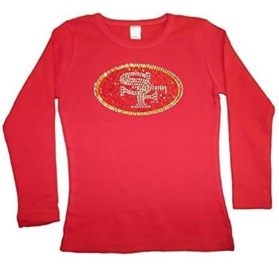 FanGarb Little Girls' San Francisco 49ers Crystal Long sleeve Tee T-Shirt sizes 2yr-12yr