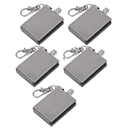 Vktech Stainless Steel Keychain Gas Lighter, Pack of 10