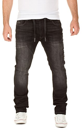 WOTEGA Uomo Jogg Sweatpants in Jeans-Look Noah slim, phantom black (4205), W31/L32