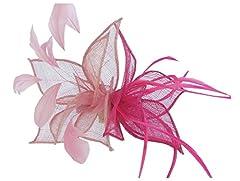 Eden Hats 2015 New Sinamay Hai Clip Fascinators Fashion Headwear (pink+rose)