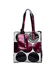 NyLs Collection Patent Bag White With Maroon Polka Dots