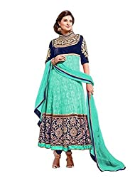 Decent World Green Rasel Net Styles Dress Material