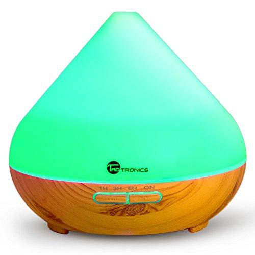 Diffusore di Aromi Ultrasuoni TaoTronics 300 ml Vaporizzatore 7 Colori LED, Oli Essenziali, Purificatore aria, Diffusore essenze, Controllo per Vaporizzazione e Illuminazione, Timer per Auto Spegnimento ad Ultrasuoni